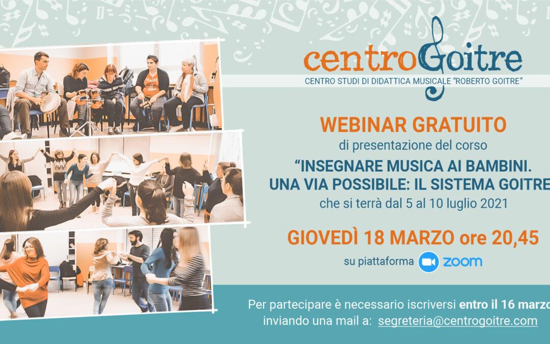 """Giovedi 18 Marzo webinar di presentazione del corso """"Insegnare musica ai bambini"""""""